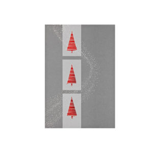 Weihnachtskarte, grauer Karton, Folienprägung silber und rot