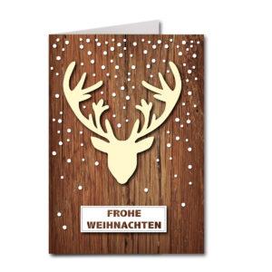 Weihnachtskarte A6, weißer Karton, Hirschgeweih