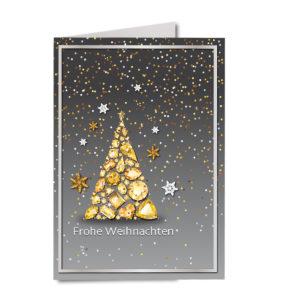 Weihnachtskarte A6, silber-grau, Edelsteinbaum