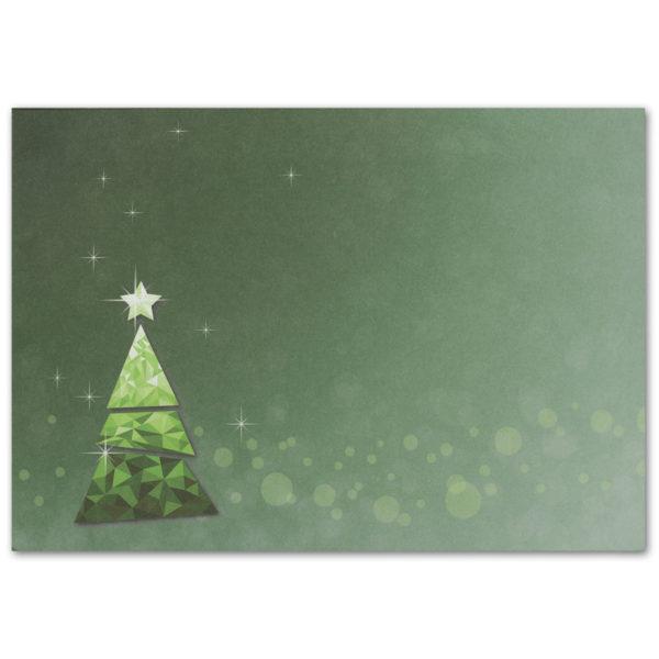 Weihnachtskarte A6, dunkelgrün, grüner Mosaik-Baum