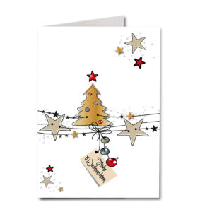 Weihnachtskarte A6, weißer Karton, Weihnachtliches Motiv