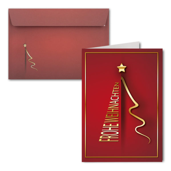 Weihnachtskarte A6, dunkelrot, Frohe Weihnachten, Weihnachtsbaum gold
