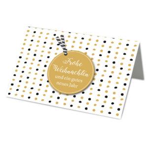 Weihnachtskarte A6, weißer Karton, mit farbigen Punkten und illustriertem Anhänger