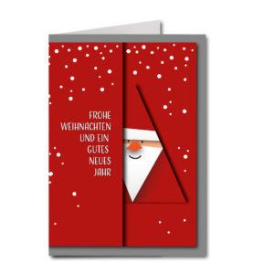 Weihnachtskarte A6, weißer Karton, roter Nikolaus