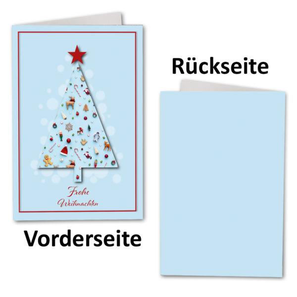 Weihnachtskarte A6, hellblau, Kunterbunte Weihnachten
