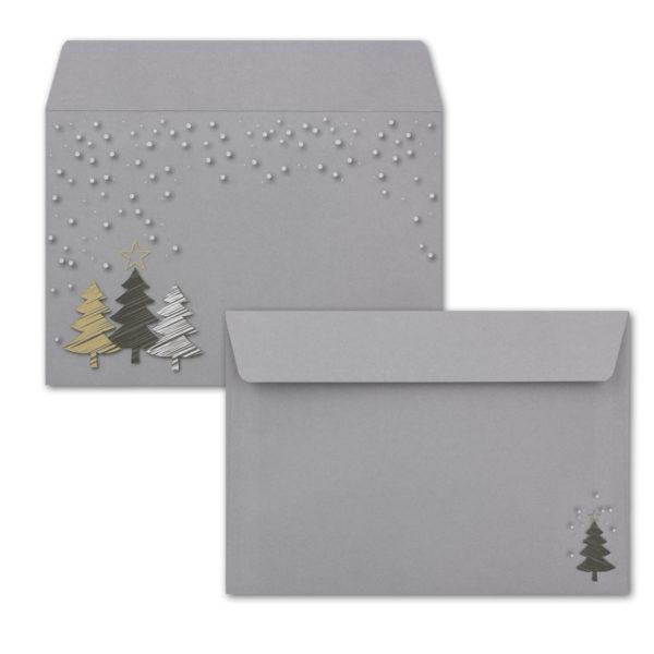 Weihnachtskarte A6, hellgrau, Weihnachtswald mit Stern