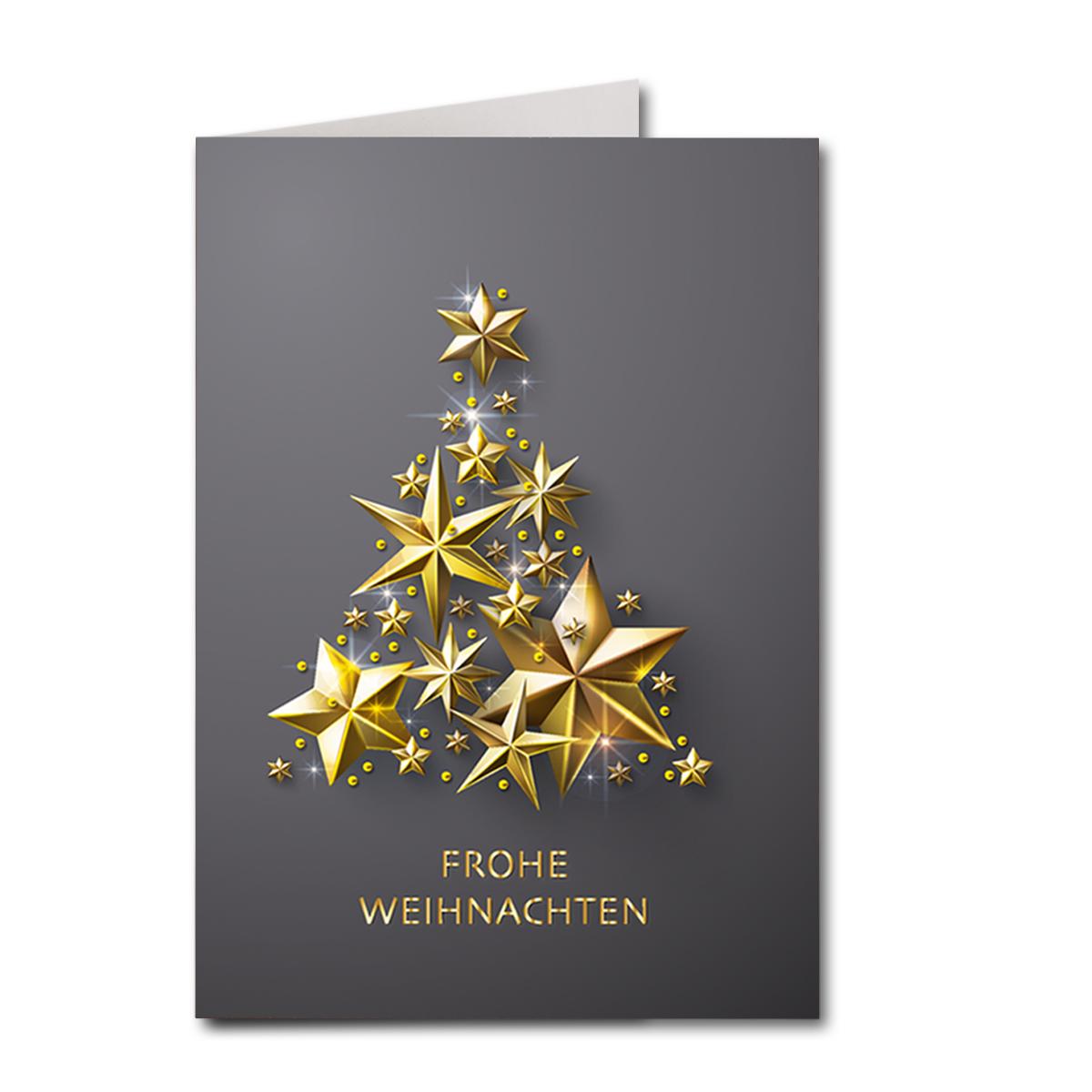 Stern Auf Weihnachtsbaum.Weihnachtskarte A6 Dunkelgrau Stern Weihnachtsbaum Gold Karte24