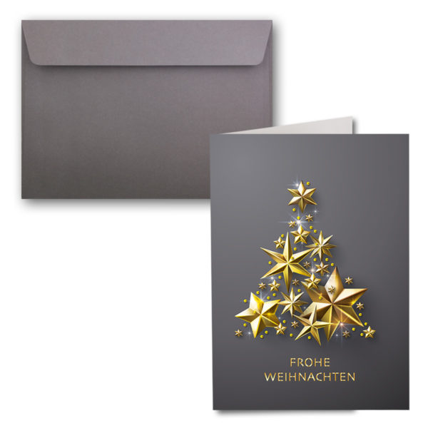 Weihnachtskarte A6, dunkelgrau, Stern-Weihnachtsbaum gold
