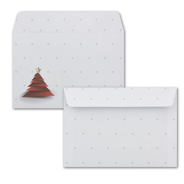 Weihnachtskarte A6, weißer Karton, Faltweihnachts-Baum