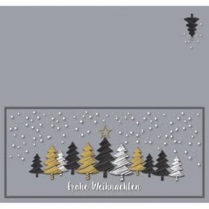 Weihnachtskarte DL, hellgrauer Karton, Weihnachtswald mit Stern