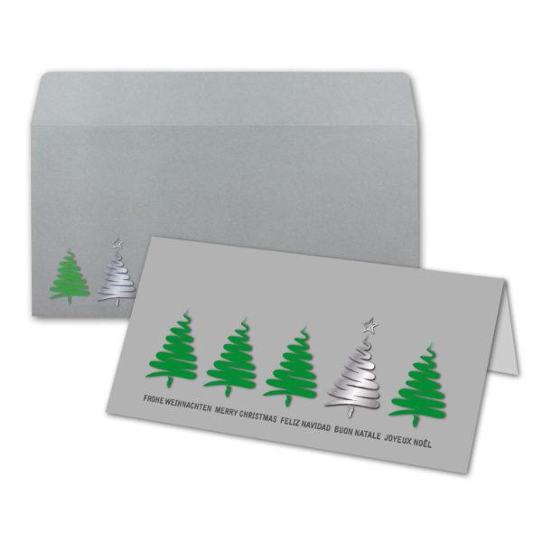 Briefumschlag zu Weihnachtskarte DL, hellgrauer Karton, Weihnachtsbäume grün und silber