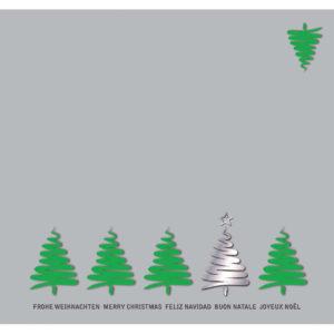 Weihnachtskarte DL, hellgrauer Karton, Weihnachtsbäume grün und silber