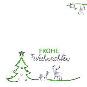Weihnachtskarte DL, cremefarbener Karton, Tannenbaum, Hirsch und Stern
