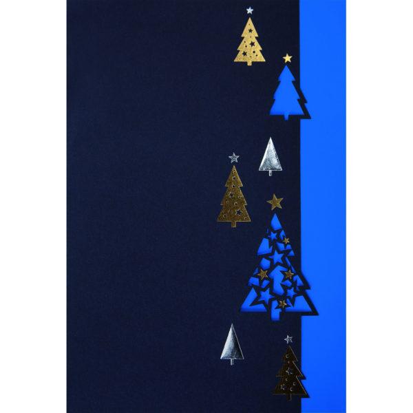 Weihnachtskarte, Laserkarte, dunkelblauer Karton, Folienprägung gold und silber