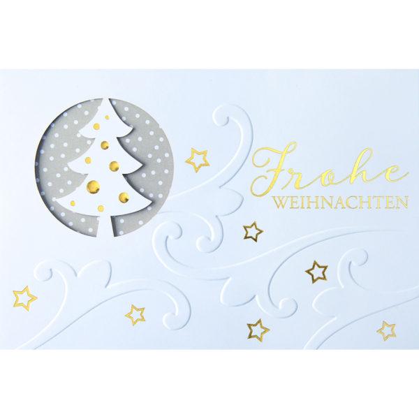 Weihnachtskarte, Laserkarte, weißer Karton, Folienprägung gold, Blindprägung