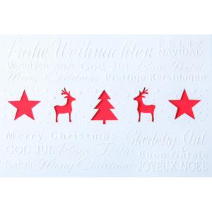 Weihnachtskarte, Laserkarte, weißer Karton, Blindprägung