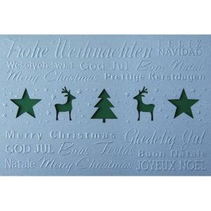 Weihnachtskarte, Laserkarte, irisierender, hellgrauer Karton, Blindprägung