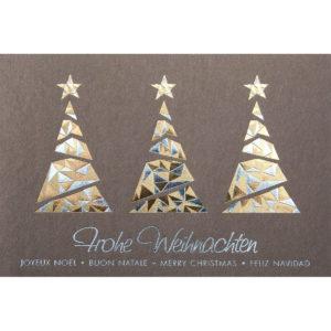 Weihnachtskarte, brauner Ökokarton, Folienprägung gold und silber