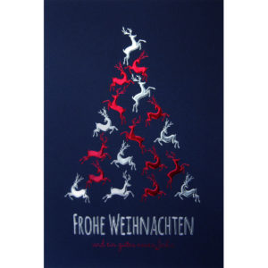 Weihnachtskarte, dunkelblauer Karton, Folienprägung rot und silber, Blindprägung