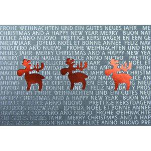 Weihnachtskarte, Laserkarte, dunkelgrauer, irisierender Karton, Folienprägung silber