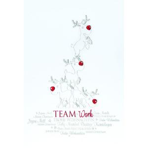 Weihnachtskarte, weißer Karton, Folienprägung silber und rot