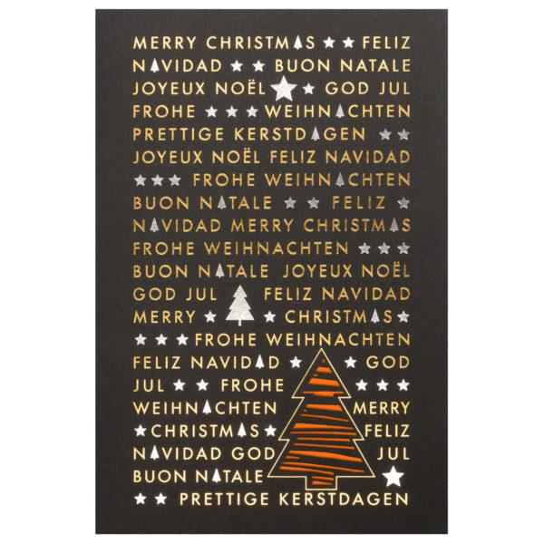 Weihnachtskarte, Laserkarte, schwarzer Karton, Folienprägung gold und silber