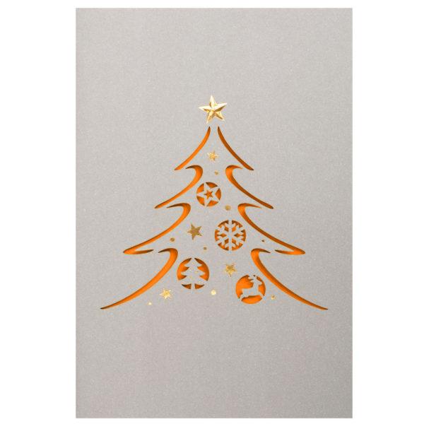 Weihnachtskarte, Laserkarte, grauer Druck auf weißem Karton, Folienprägung gold