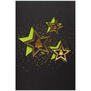 Weihnachtskarte, Laserkarte, graphitgrauer Druck auf weißem Karton, Folienprägung gold