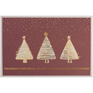 Weihnachtskarte, dunkelroter Druck auf cremefarbenem Karton, Folienprägung gold