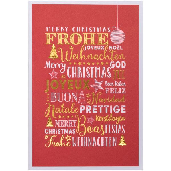 Weihnachtskarte, roter Druck auf weißem Karton, Folienprägung gold