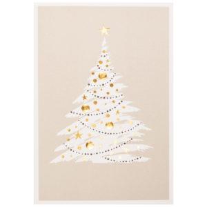 Weihnachtskarte, hellgrauer und schwarzer Druck auf cremefarbenem Karton, Folienprägung gold
