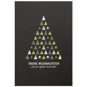 Weihnachtskarte, Laserkarte, schwarzer Karton, Folienprägung silber