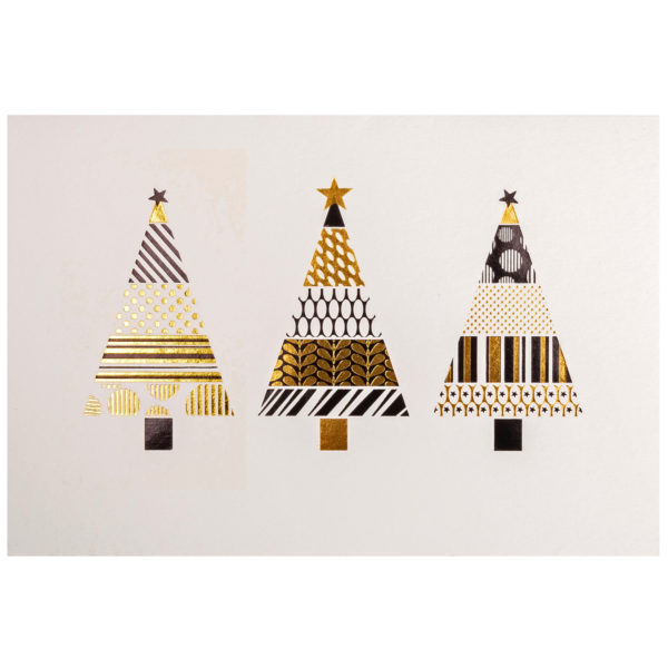 Weihnachtskarte, cremefarbener Karton, Folienprägung schwarz und gold