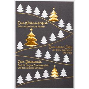Weihnachtskarte, graphitgrauer Druck auf weißem Karton, Folienprägung gold, Blindprägung