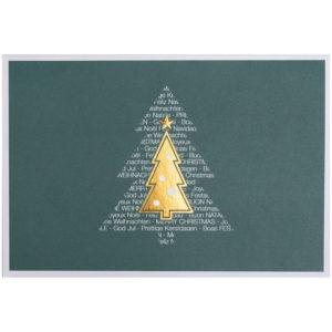 Weihnachtskarte, dunkelgrüner Druck auf weißem Karton, Folienprägung gold