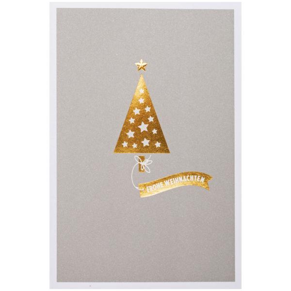 Weihnachtskarte, grauer Druck weißem Karton, Folienprägung gold und silber