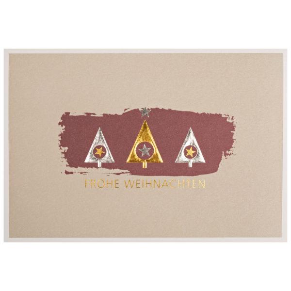 Weihnachtskarte, hellgrauer und dunkelroter Druck auf cremefarbenem Karton, Folienprägung gold und silber