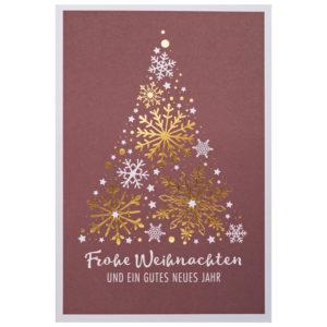 Weihnachtskarte, dunkelroter Druck auf weißem Karton, Folienprägung gold