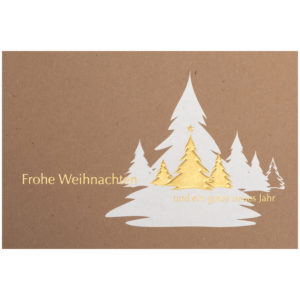 Weihnachtskarte, brauner Ökokarton, Folienprägung weiß und gold