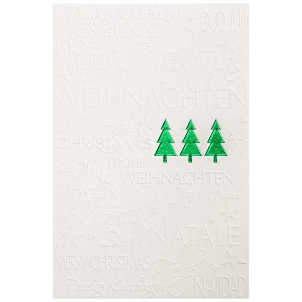 Weihnachtskarte, cremefarbener Karton, Folienprägung grün, Blindprägung