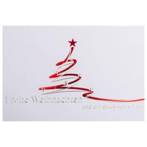 Weihnachtskarte, weißer Karton, Folienprägung rot und silber