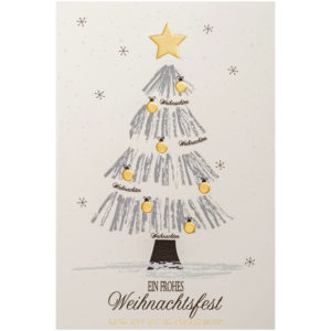 Weihnachtskarte, cremefarbener Karton, grauer Druck, Folienprägung schwarz und gold