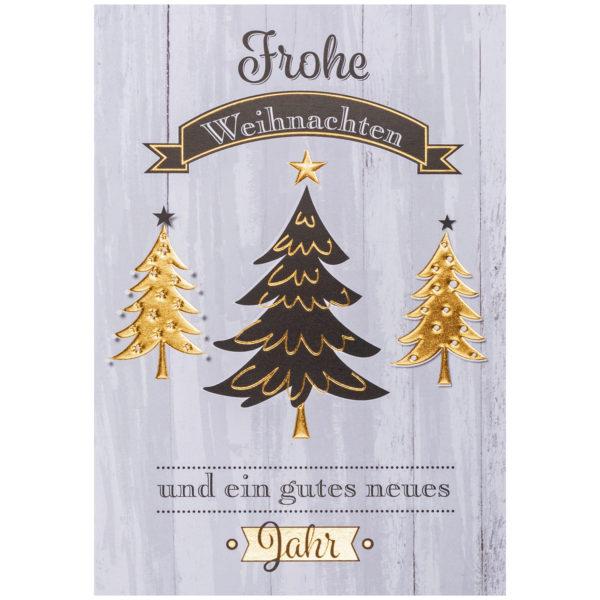 Weihnachtskarte, weißer Karton, grauer Druck, Folienprägung schwarz und gold