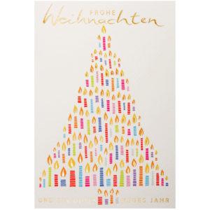 Weihnachtskarte, cremefarbener Karton, mit farbigem Druck, Folienprägung gold
