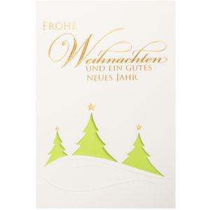 Weihnachtskarte, cremefarbener Karton, mit Stanzung, Folienprägung gold, Blindprägung