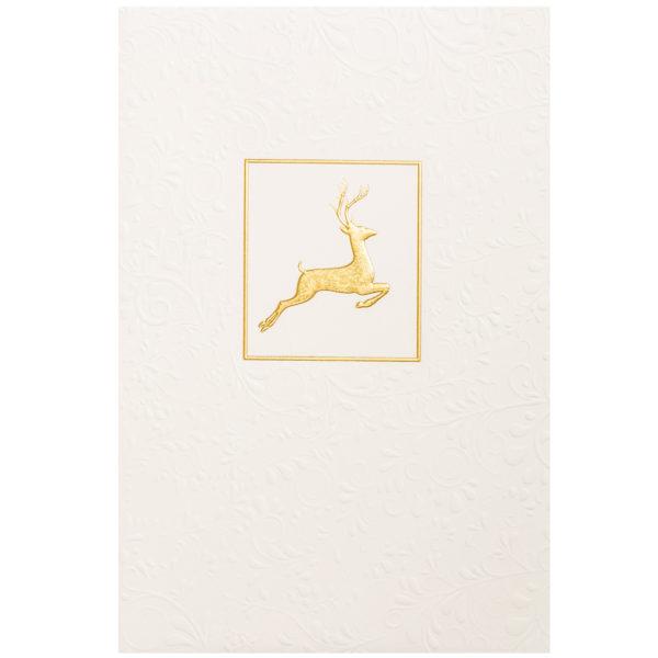 Weihnachtskarte, cremefarbener Karton, Folienprägung gold, Blindprägung