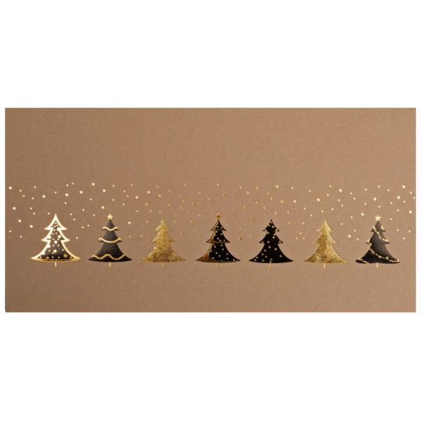 Weihnachtskarte, brauner Ökokarton, Folienprägung schwarz und gold