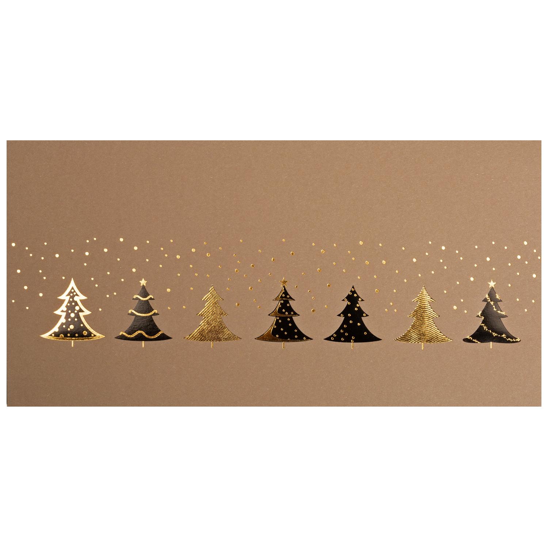 Digitale Weihnachtskarten.Weihnachtskarte Brauner Okokarton Folienpragung Schwarz Und Gold