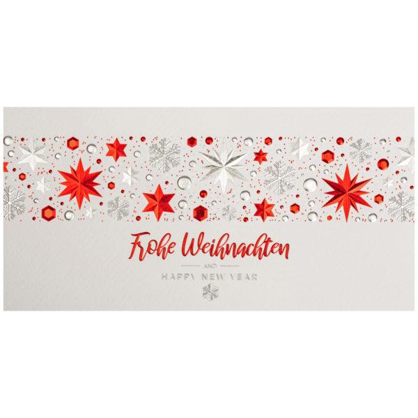 Weihnachtskarte, cremefarbener Karton, Folienprägung rot und silber