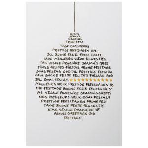 Weihnachtskarte, weißer Karton, Folienprägung schwarz und gold